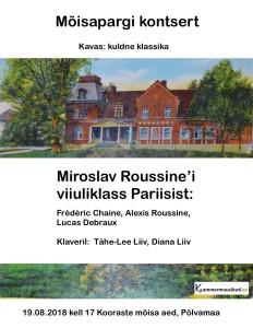 Kooraste Mõisapargi kontsert plakat